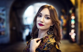 Picture model, portrait, makeup, dress, hairstyle, brown hair, beauty, bokeh, Elena Rodriguez, Javier Garrido