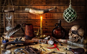 Wallpaper letter, style, weapons, pen, watch, skull, bottle, map, candle, key, mug, book, coins, still life, ...