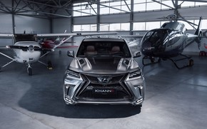 Picture car, machine, lights, tuning, Lexus, hangar, helicopter, carbon, grey, the plane, front, bumper, tuning, carbon, …