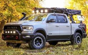 Picture car, machine, forest, lights, tuning, SUV, side, pickup, tuning, Ram, Ram 1500, Ram 1500 Rebel …