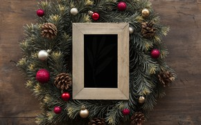 Picture decoration, frame, New Year, Christmas, Christmas, wreath, wood, New Year, decoration, wreath, frame, Merry, fir …