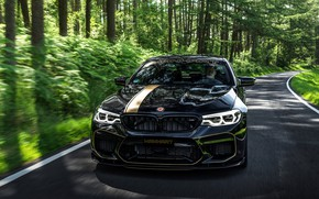 Wallpaper road, forest, BMW, 2018, Biturbo, Manhart, M5, V8, F90, 4.4 L., 723 HP, MH5 700