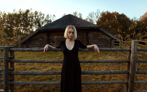 Picture chest, dress, the barn, freckles, fence, Aleks Five