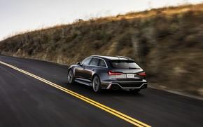 Picture asphalt, Audi, markup, speed, universal, RS 6, 2020, 2019, dark gray, V8 Twin-Turbo, RS6 Avant