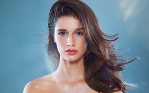 Picture look, girl, face, background, hair, portrait, sponge, shoulders, Juliana Nunes