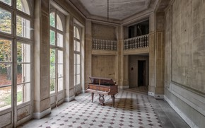 Picture house, hall, piano