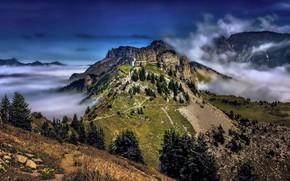Picture clouds, landscape, mountains, nature, Switzerland, Alps