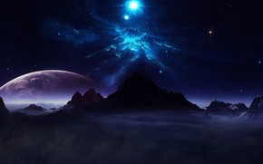 Picture universe, sky, digital, landscape, mountains, clouds, stars, planets, skylights