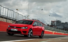 Picture red, Volkswagen, the fence, universal, 2015, Golf R Estate