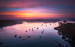 Picture sea, Islands, clouds, sunset, reflection, France, boats, the evening, horizon, Bay, twilight, boats, Bank, lilac, …