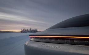 Picture snow, grey, strip, Porsche, feed, 2020, Taycan, Taycan 4S