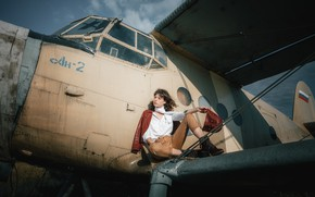 Picture look, girl, pose, the plane, photo, jacket, Anastasia, Andrey Vasilyev