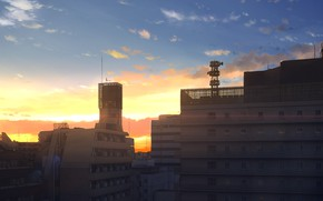 Picture the sky, sunset, the city