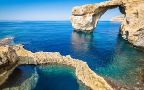 Picture sea, rocks, Malta, Gozo
