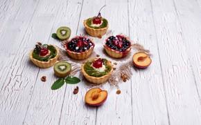 Picture cherry, kiwi, cake, fruit, dessert, wood, cakes, sweet, tartlets, drain