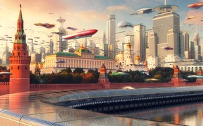 Wallpaper The city, Future, Skyscrapers, Moscow, City, The Kremlin, Russia, Art, Russia, Fiction, Moscow City, Evgeny ...