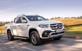 Picture white, Mercedes-Benz, pickup, 2018, on the road, X-Class