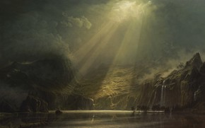 Picture Nature, Mountains, Figure, Lake, Light, Picture, Rays, Landscape, Painting, Ray, Michael Handt, by Michael Handt, …