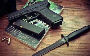 Picture Gun, Bullets, Glock, Weapon, Pistol, Knife, Gerber