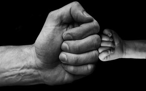 Picture hands, fists, baby, son, dad, greeting