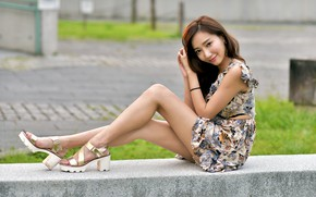Picture look, smile, dress, legs, Asian