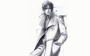 Picture look, style, figure, guy, coat, Attack Of The Titans, Shingeki No Kyojin, Eren Yeager, by …