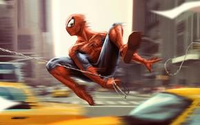 Picture machine, the city, fiction, figure, speed, home, web, art, costume, superhero, comic, Spider-man, MARVEL, Spider-Man, …
