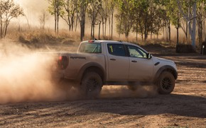 Picture sand, white, Ford, dust, Raptor, pickup, 2018, Ranger