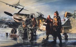 Picture the airfield, Messerschmitt, B-17, Luftwaffe, Bf.109, Kettenkrad HK 101, SdKfz 2, half-track motorcycle, single-engine piston …