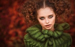 Picture look, girl, face, portrait, curls, sweater, Ilona Bimova, Anna Polyakova