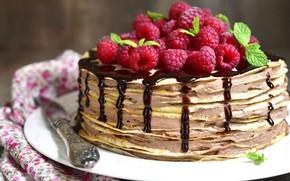 Picture raspberry, chocolate, cake, pancakes
