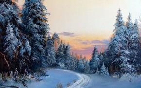 Picture winter, forest, snow, landscape, sunset, Alexander Lednev