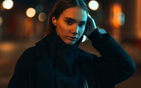 Picture look, night, lights, pose, glare, model, portrait, makeup, hairstyle, brown hair, beauty, coat, bokeh, Andrey …