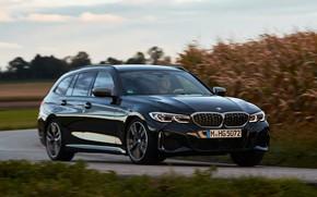 Picture movement, black, blur, BMW, 3-series, universal, 3P, 2020, 2019, G21, M340i xDrive Touring