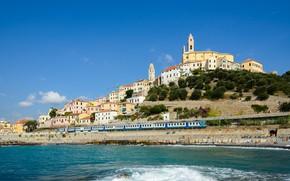 Picture sea, building, home, hill, train, Italy, Church, promenade, Italy, Liguria, Liguria, Deer