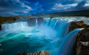 Picture landscape, clouds, nature, waterfall, Iceland, Godafoss