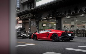 Picture red, sports car, LP700-4, Lamborghini Aventador, Lamborghini LP700-4 Aventador