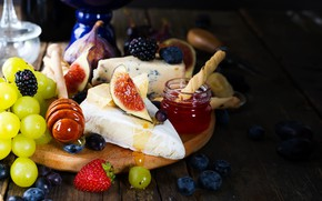 Picture cheese, strawberry, honey, grapes, BlackBerry, blueberries, figs