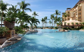 Picture palm trees, the ocean, pool, Mexico, resort, Mexico, La Estancia, riviera Nayarit