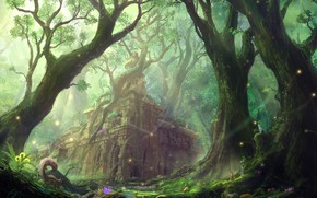 Picture forest, castle, figure, protein, art, ruins, structure