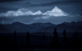 Picture forest, clouds, mountains, night, darkness, the dark background, tops, ate, twilight, snow