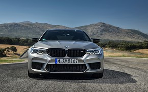 Picture grey, BMW, sedan, front view, 4x4, 2018, four-door, M5, V8, F90, M5 Competition