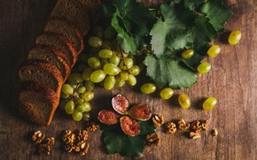 Picture light, green, table, Board, bread, grapes, still life, cutting, composition, walnuts, figs, grape leaves