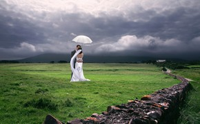Picture the sky, girl, clouds, nature, umbrella, dress, male, the bride, wedding