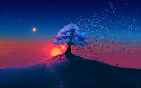 Picture Sunset, The sun, The sky, Tree, Stars, Leaves, Fantasy, Art, Fiction, Josef Bartoň, by Josef ...