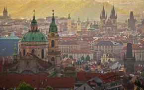 Wallpaper the city, fog, building, home, beauty, morning, roof, Prague, Czech Republic, tower, haze, architecture, history, ...