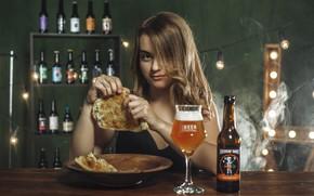 Picture girl, beer, bar, cheburek