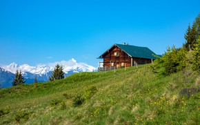 Picture mountains, Alps, house