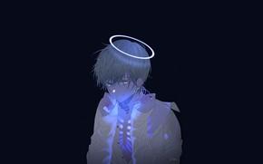 Picture light, art, skeleton, guy, black background, mi_lomi