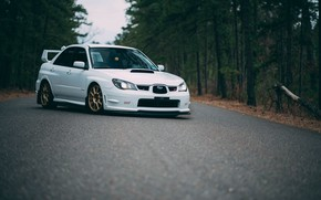 Picture Subaru, Impreza, WRX, STI, White, Asphalt